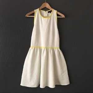 Topshop Flower Embroidered White Dress Yellow Trim